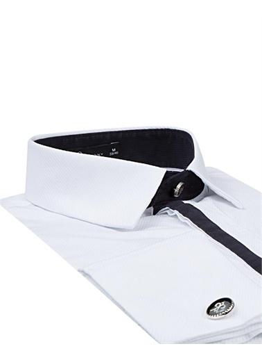 Damat Damat Slim Fit Beyaz Jakar Desenli Smokin Gömlek Beyaz